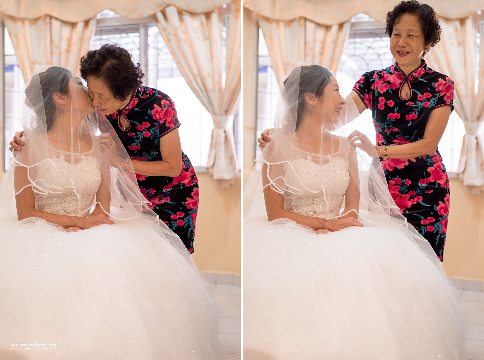 mum kisses bride daughter