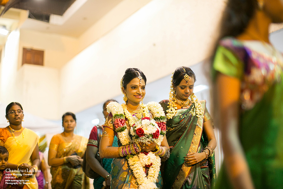 Bride walking to temple