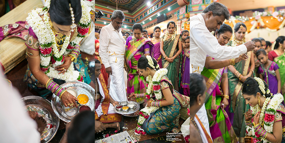 Indian bride washing parents foots