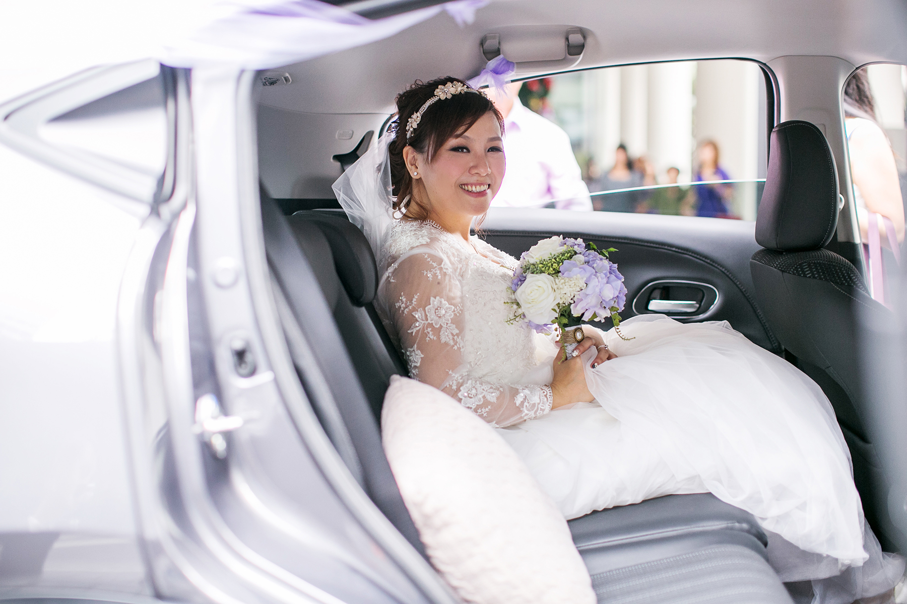 bride seating in the car