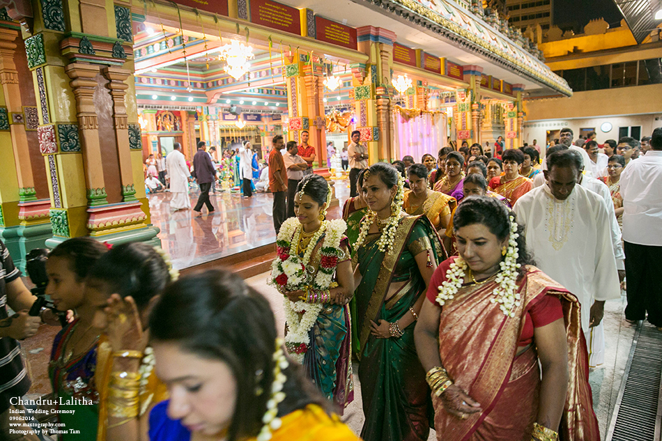 bride walking by temple