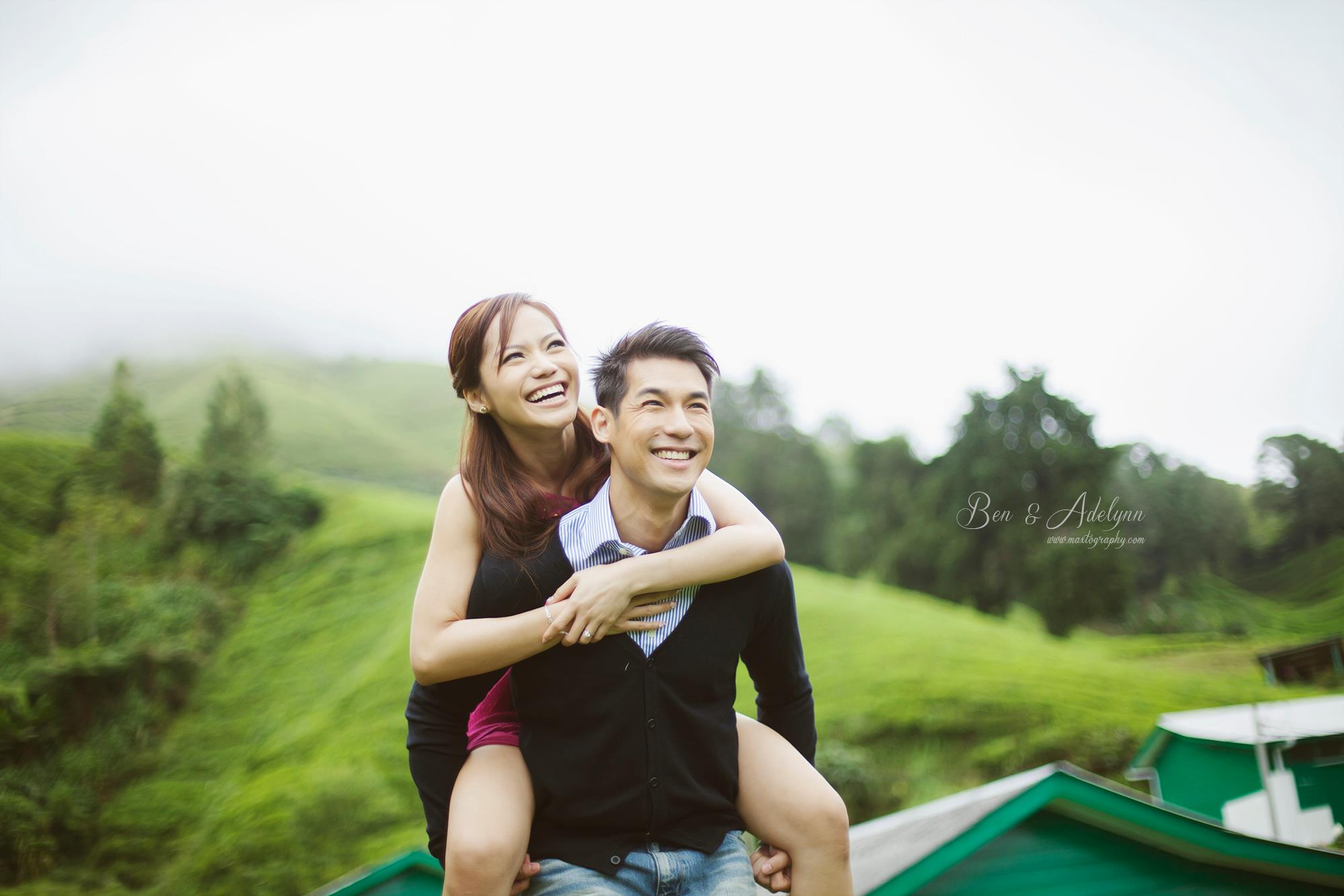 couple piggy back at Cameron Highland
