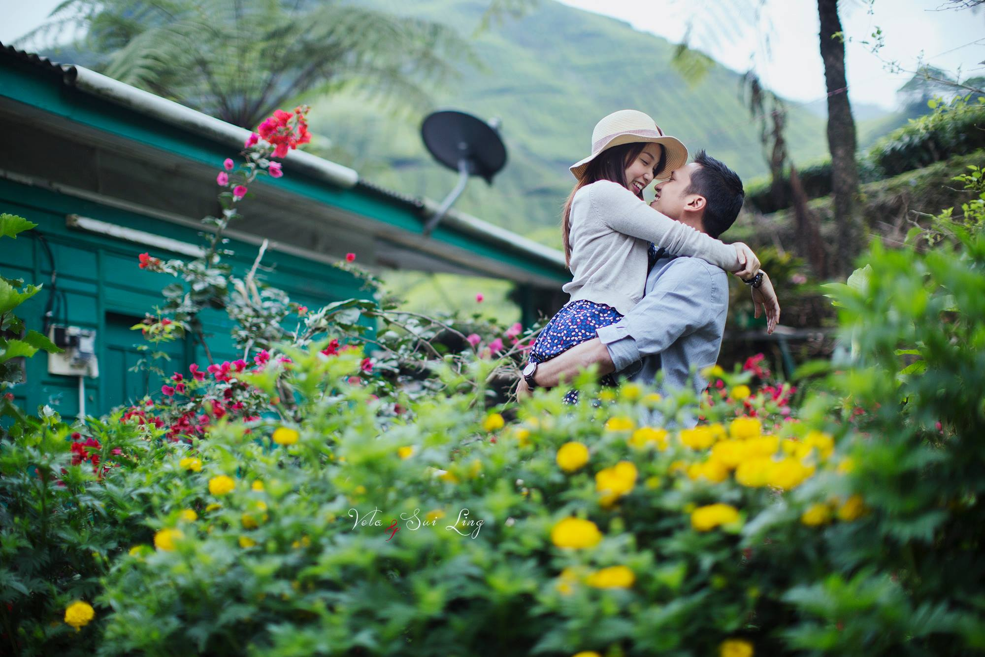 couple loving in the park in Cameron Highland