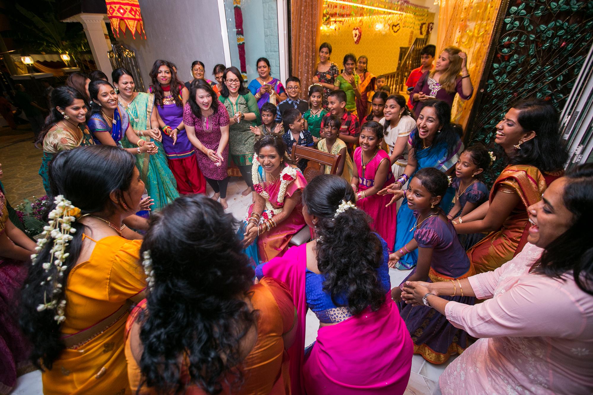 Bride dance surrounding by friends