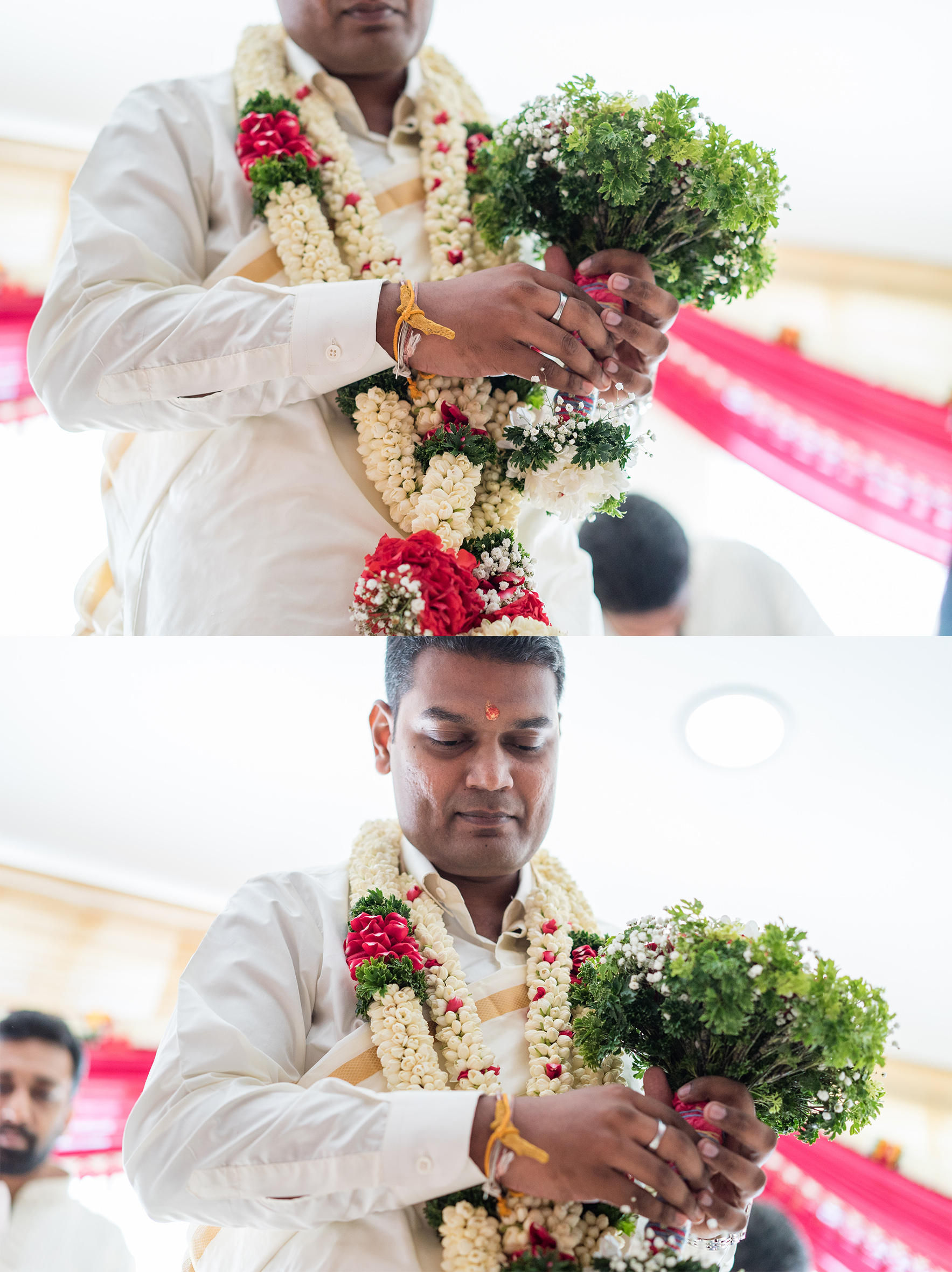 Grrom holding bouquet flower