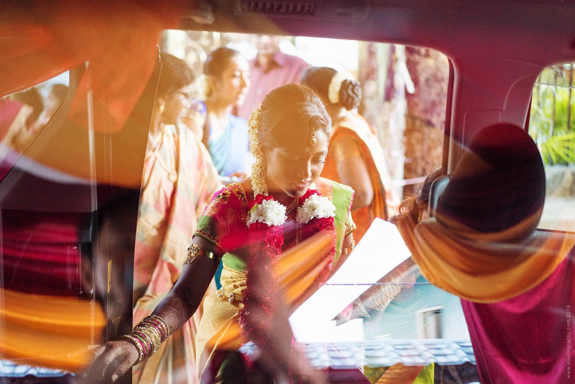 Indian Bride entering car