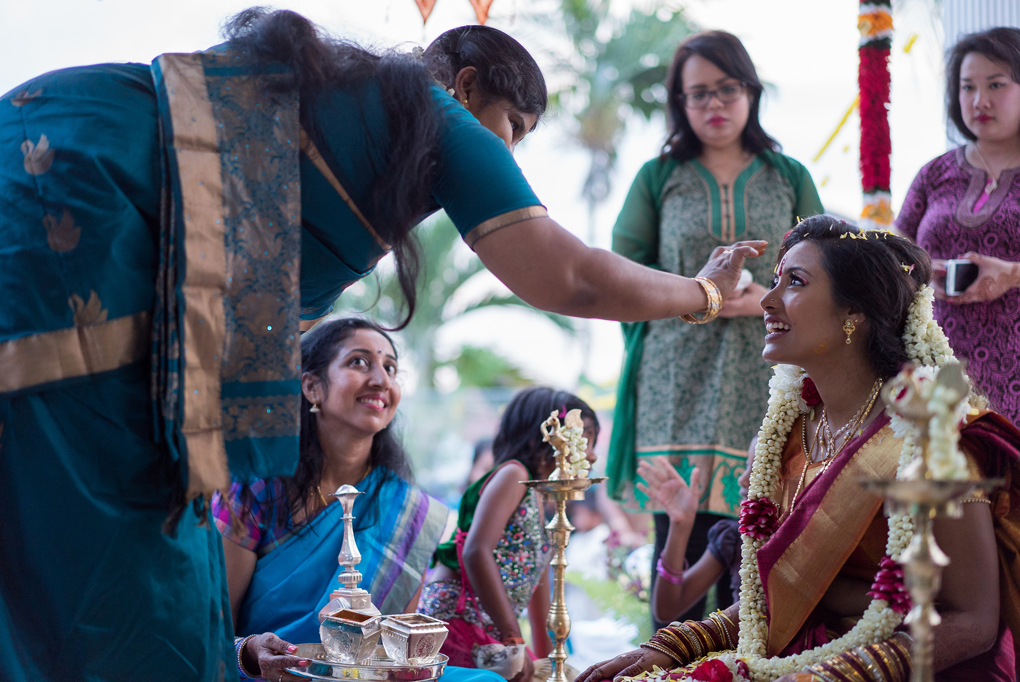 Indian Bride greets by guest
