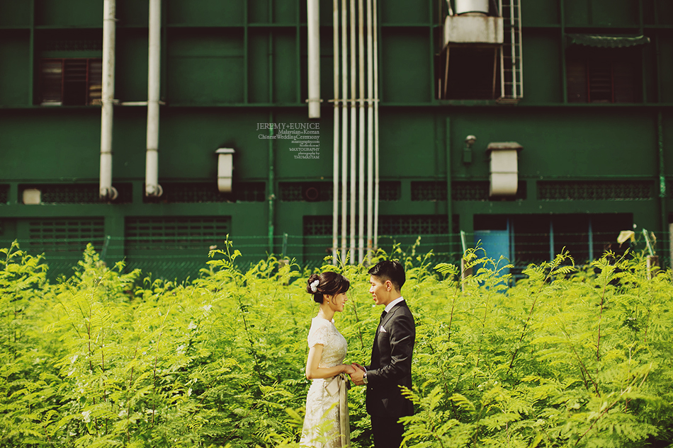 bride and groom in green