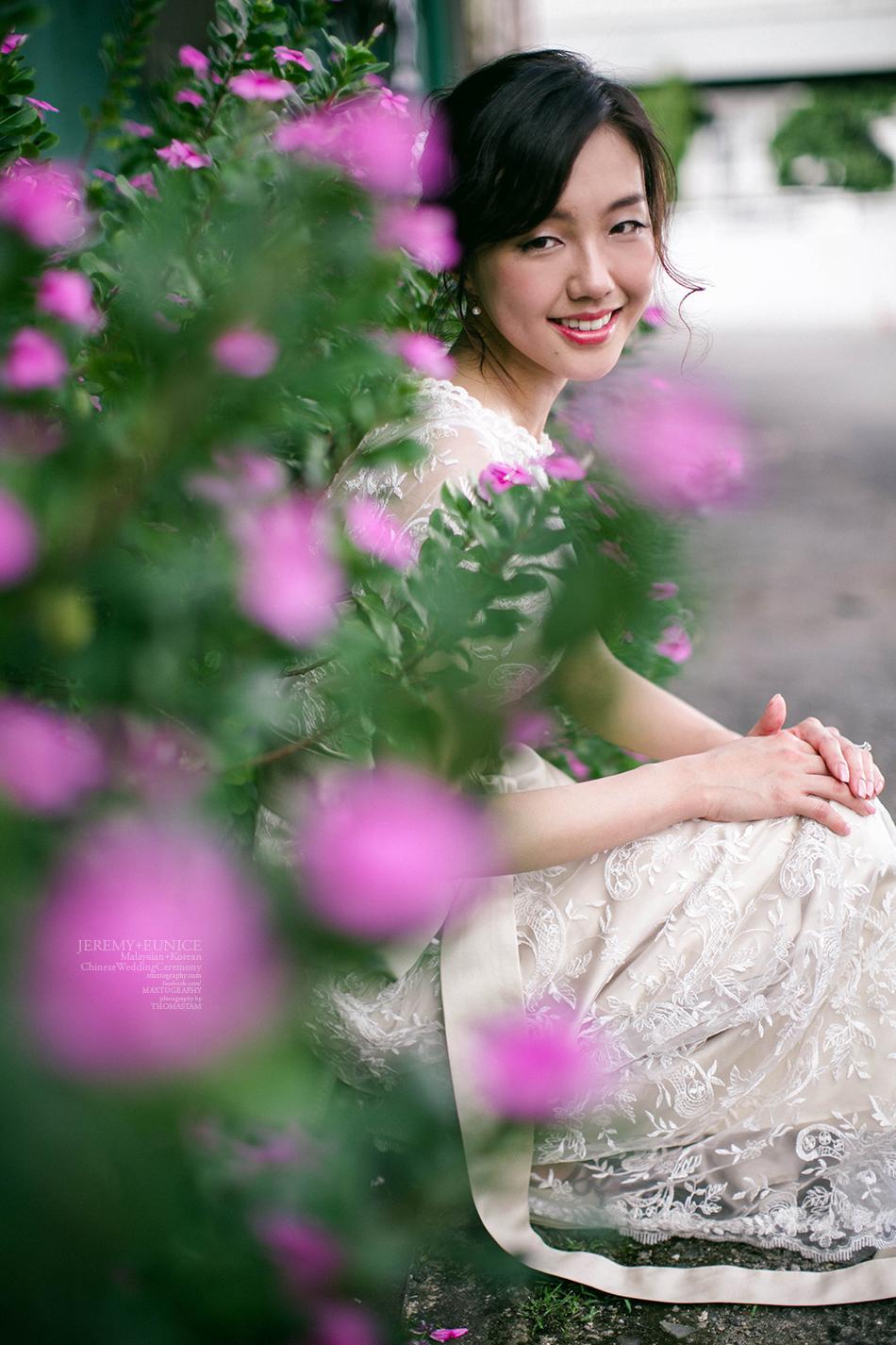 bride portrait with flower foreground