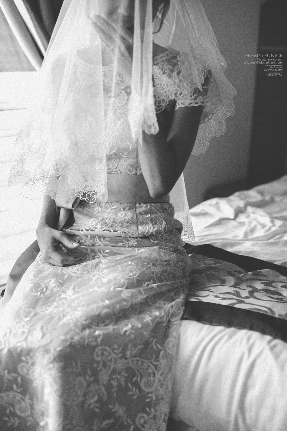bride smiling in black and white photo