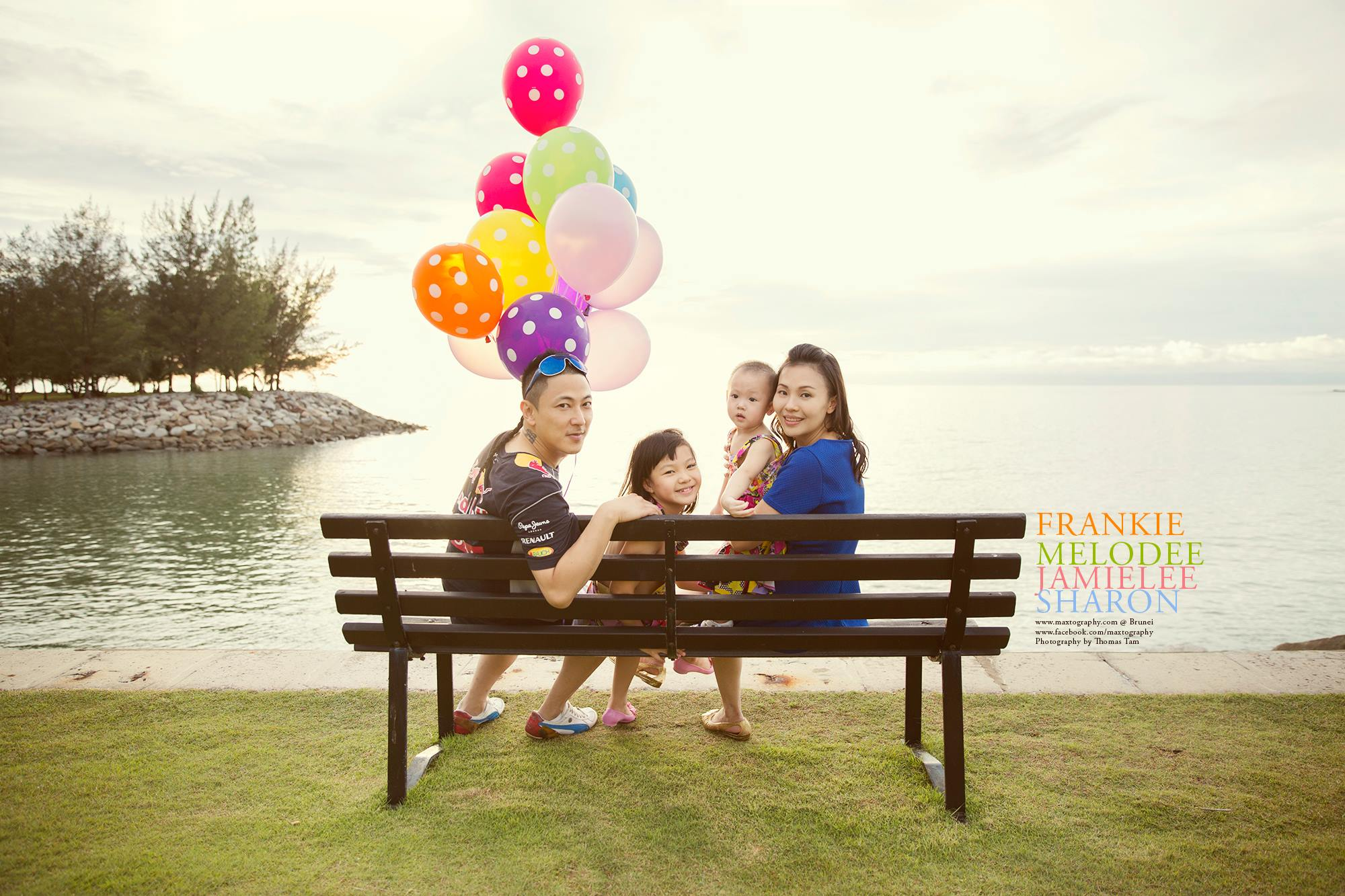 family with balloon