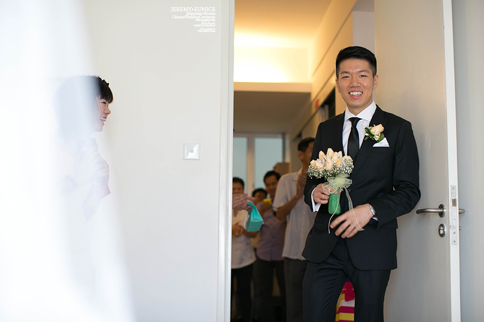 groom happily smiling