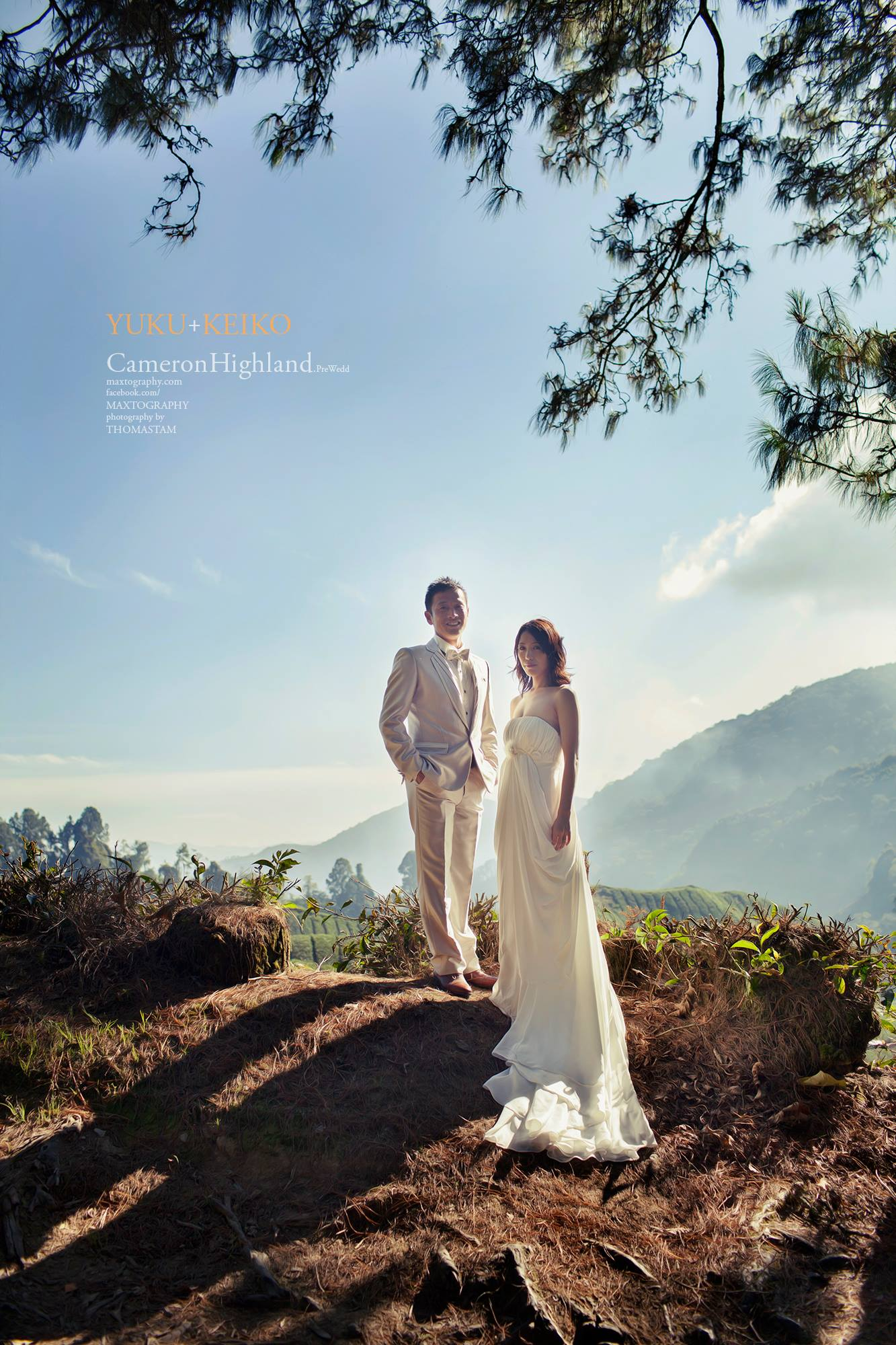 Grrom and bride standing on the hill at Cameron Highland